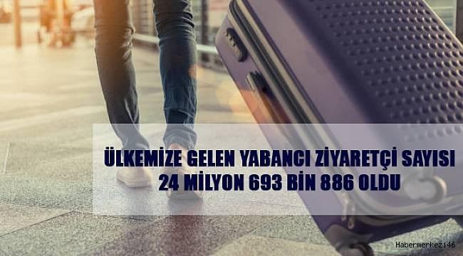 Ülkemize gelen yabancı ziyaretçi sayısı 24 milyon 693 bin 886 oldu