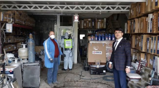Afşin Esnaf Odasından iş yerlerine dezenfekte desteği