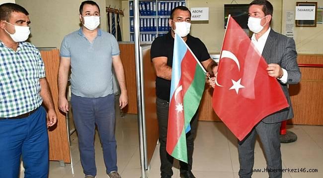 """""""Türkoğlu'nda, Azerbaycan ve Türk Bayrağı birlikte dalgalanıyor''"""