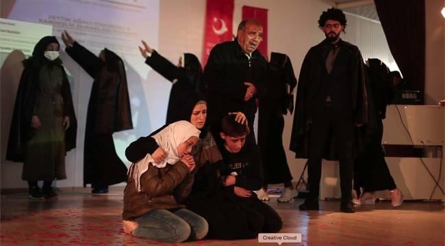 Yunus Emre Enstitüsü Azez Kültür Merkezi tiyatro ve müzik ekibi Kahramanmaraş'ta sahne aldı